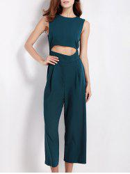 Hollow Out Tied Bowknot Jumpsuit -