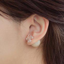 Pair of Faux Pearl Star Filigree Rhinestone Earrings -
