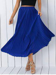 High Waisted Pleated Chiffon Tea Length Skirt - BLUE