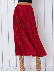 High Waisted Pleated Chiffon Tea Length Skirt - RED