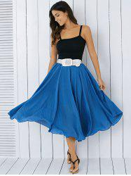 High Waisted Frilly Chiffon Midi Skirt With Belt - BLUE