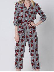 Turn Down Collar Heart Stripe Print Cropped Jumpsuit - DEEP RED XL