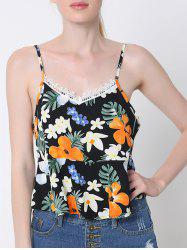 Stylish Back Slit Lace Trim Tropical Print Tank Top -