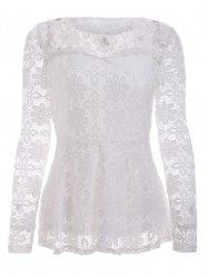 Trendy Long Sleeve Floral Embroidered White Lace Blouse -