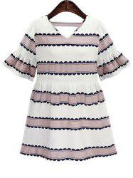Plus Size Bell Sleeve Casual Striped Dress -
