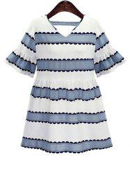 Plus Size Bell Sleeve Casual Striped Dress