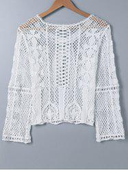 Crochet Embroidery Long Sleeve Blouse -