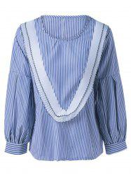 Pinstriped Long Sleeve Splicing Blouse -