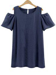Plus Size Cold Shoulder Mini Tunic Dress