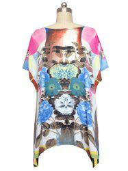 Loose Daffodil Printed Bat Sleeve T-Shirt -