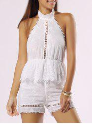 Halter Backless Cut Out Ruffle Romper -