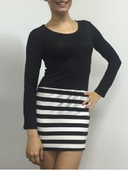 Striped Bodycon Long Sleeve Dress - WHITE AND BLACK S