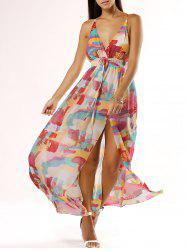 Chic Spaghetti Strap Low Cut Print Dress -