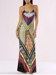 Chic Spaghetti Strap Cut Out Print Maxi Dress