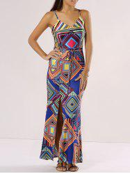 Chic Spaghetti Strap Cut Out Geometric Print Dress
