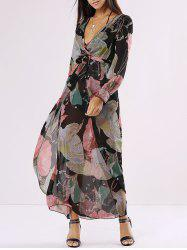 Chiffon Floral Long Sleeve Plunge Wrap Flowy Dress - BLACK