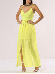 Floor Length Chiffon Open Back Split Maxi Dress - YELLOW