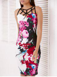 Trendy Sleeveless Floral Print Hollow Out Skinny Dress - COLORMIX