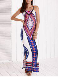 Geometric Print Slit Backless Cami Dress - WHITE