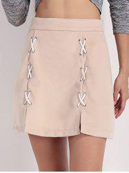 High Waist Cross-Cross Slit Skirt