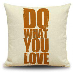 Letters Words Printed Decorative Linen Cover Pillow Case