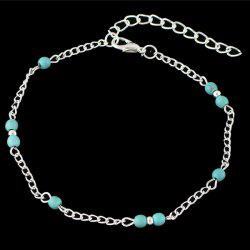 Bohemian Style Faux Turquoise Beaded Anklet -