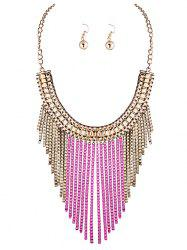 A Suit of Irregular Fringed Chain Necklace and Earrings