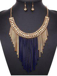A Suit of Box Chain Tasseled Necklace and Earrings -