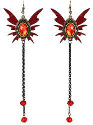 Pair of Halloween Faux Ruby Wings Tassel Earrings