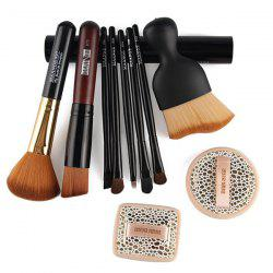 5 Pcs Eye Makeup Brushes Set with Brush Holder + 2 Pcs Powder Puffs + Wave Shape Blush Brush + Blush Brush + Foundation Brush