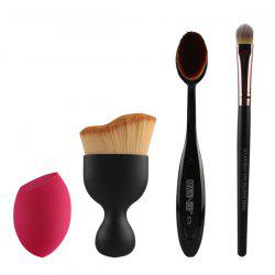 4 Pcs/Set Wave Shape Blush Brush + Foundation Brush + Eyeshadow Brush + Bevel Cut Makeup Sponge - BLACK