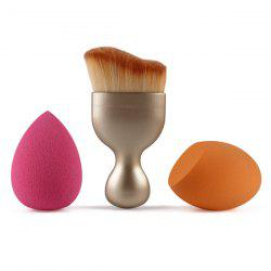 3 Pcs/Set Wave Shape Blush Brush + Bevel Cut Makeup Sponge + Makeup Sponge - GOLDEN