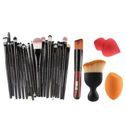 20 Pcs Makeup Brushes Set + 2 Pcs Makeup Sponge + Wave Shape Blush Brush + Foundation Brush - COLORMIX