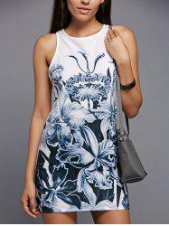 Round Neck Floral Printed Shift Tank Top Dress - WHITE M