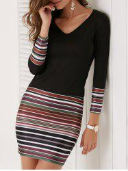 V Neck Stripe Long Sleeve Bodycon Dress - BLACK