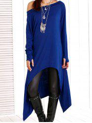 Skew Neck High Low Asymmetric Dress - SAPPHIRE BLUE