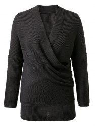 V-Neck Solid Color Knitted Sweater -