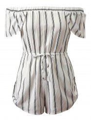 Off-The-Shoulder Cap Sleeves Striped Romper -