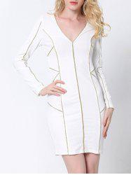 Plunge Long Sleeve Fitted Tight Sheath Dress - WHITE 2XL