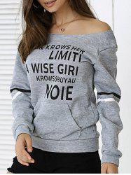 Off The Shoulder Long Sleeve Letter Print Sweatshirt - GRAY
