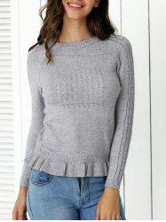 Cute Flounce Hem Guipure Sweater For Women