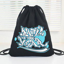 Casual Graffiti Print and Canvas Design Backpack For Women -