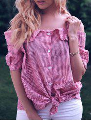 Sweet Plus Size Cold Shoulder Gingham Short Sleeve Women's Blouse -