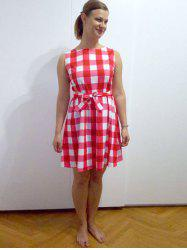 Retro Style Sleeveless Round Neck Plaid Dress