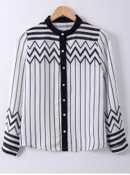 Ladylike Stand Collar Stripe Zigzag Print Long Sleeve Shirt -