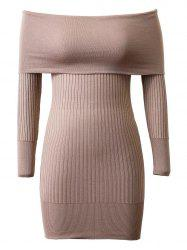 Knitted Off-The-Shoulder Slimming Dress - KHAKI