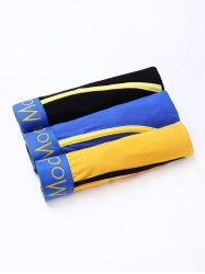 Cherlamode 3PCS (Three Color) U Pouch Design Color Block Edging Boxer Briefs For Men