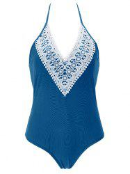 Halter Lace Spliced One-Piece Swimsuit -