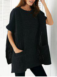Round Neck Ribbed Cape Plus Size Sweater -