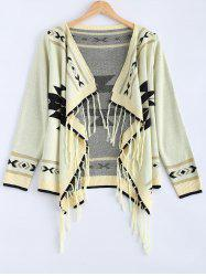 Long Sleeve Fringed Loose Cardigan -